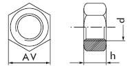Гайка шестигранная с дюймовой резьбой UNC