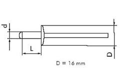 Заклепка алюминевая забивная (нержавеющая сталь) D=16 fmRIVETS