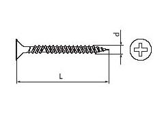 Саморез для гипсокартона с обратной частой резьбой