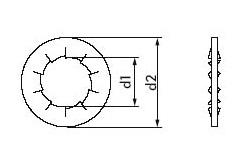 DIN 6798 Шайба стопорная с внутренними зубьями форма J